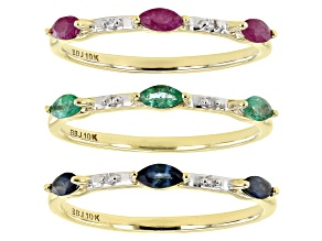 Mahaleo Ruby, Sapphire, Zambian Emerald, And  Diamond 10k Yellow Gold Ring Set Of 3. 0.77ctw