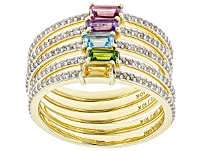 Amethyst, Rhodolite, Citrine, Topaz, Chrome Diopside, And Zircon 10k Gold Ring Set Of 5. 1.00ctw