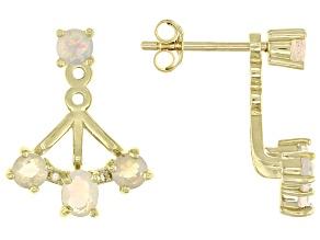 Multicolor Opal 10k Yellow Gold Earring Jackets .59ctw