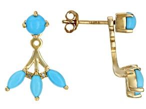 Blue Sleeping Beauty Turquoise 10k Yellow Gold Earring Jackets 0.02ctw