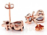 Oval And Pear Color Change Garnet 10k Rose Gold Cat Earrings 1.28ctw