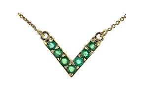 Green Emerald 10k Yellow Gold Necklace 0.38ctw