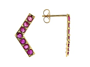 Red Ruby 10k Yellow Gold Stud Earrings. 1.05ctw