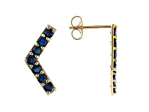 0.99ctw Round Blue Sapphire 10k Yellow Gold Earrings.