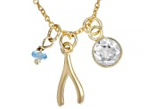White Topaz 10k Yellow Gold Pendant With Chain .59ctw