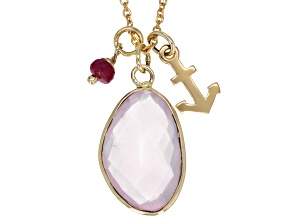 Rose Quartz 10k Yellow Gold Pendant With Chain.