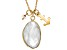 White Rainbow Moonstone 10k Yellow Gold Pendant With Chain 4.30ctw.