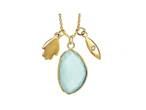 Blue Chalcedony 10k Yellow Gold Pendant With Chain 4.21ctw