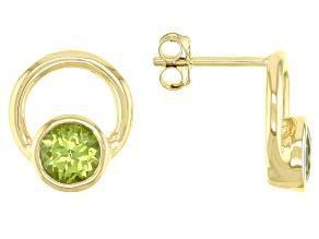 Green Peridot 10k Yellow Gold Stud Earrings 1.02ctw