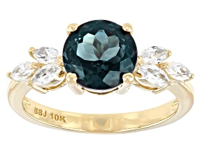 Blue Lab Created Alexandrite 10k Yellow Gold Ring 2.45ctw