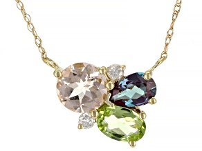 Pink Morganite 10k Yellow Gold Necklace 1.54ctw