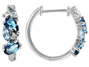 London Blue Topaz Rhodium Over 10k White Gold Hoop Earrings 1.29ctw