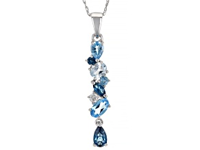 London Blue Topaz Rhodium Over 10k White Gold Pendant With Chain .95ctw