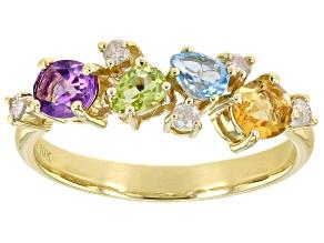Multi-Gemstone 10k Yellow Gold Ring .96ctw
