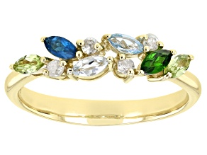 Blue Aquamarine 10k Yellow Gold Ring .51ctw