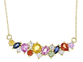 Multi-Color Sapphire 10k Yellow Gold Necklace 1.45ctw