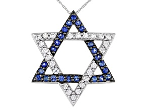 "Blue Sapphire Rhodium Over 10k White Gold ""Star Of David"" Pendant with Chain .92ctw"