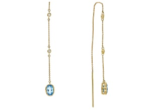 Swiss Blue Topaz 10k Yellow Gold Threader Earrings 0.90ctw