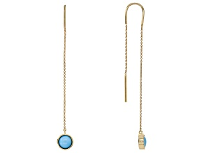 Blue Sleeping Beauty Turquoise 10k Yellow Gold Threader Earrings