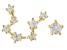 """White Zircon 10k Yellow Gold """"Aquarius"""" Earrings 0.30ctw"""