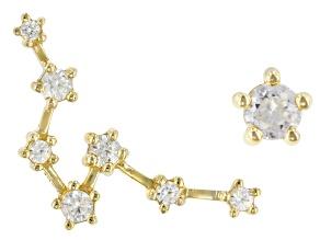 "White Zircon 10k Yellow Gold ""Pisces"" Earrings 0.36ctw"