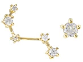 "White Zircon 10k Yellow Gold ""Aries"" Earrings 0.32ctw"
