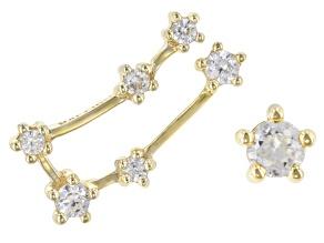 "White Zircon 10k Yellow Gold ""Gemini"" Stud Earrings 0.29ctw"