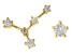 "White Zircon 10k Yellow Gold ""Cancer"" Stud Earrings 0.27ctw"