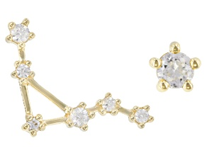 "White Zircon 10k Yellow Gold ""Libra"" Stud Earrings 0.29ctw"