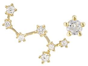 "White Zircon 10k Yellow Gold ""Scorpio"" Stud Earrings 0.64ctw"