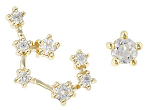 "White Zircon 10k Yellow Gold ""Sagittarius"" Stud Earrings 0.31ctw"