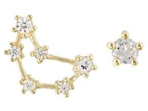 "White Zircon 10k Yellow Gold ""Capricorn"" Stud Earrings 0.29ctw"