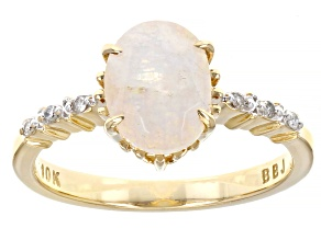 Multi Color Rainbow Moonstone 10k Yellow Gold Ring 0.05ctw