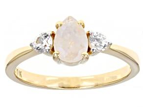 Multi Color Rainbow Moonstone 10k Yellow Gold Ring 0.18ctw