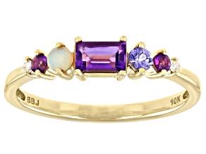 Purple African Amethyst 10k Yellow Gold Ring 0.45ctw