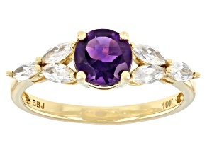 Purple African Amethyst 10k Yellow Gold Ring 1.22ctw