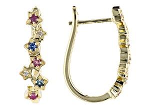 Red Mahaleo® Ruby 10k Yellow Gold Star Hoop Earrings. 0.46ctw