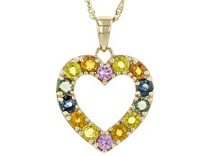 Multi Color Sapphire 10k Yellow Gold Heart Pendant With Chain