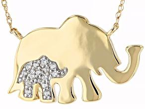 White Zircon 10K Yellow Gold Elephant Necklace 0.10ctw