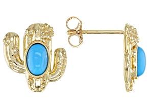 Blue Sleeping Beauty Turquoise 10k Yellow Gold Cactus Earrings