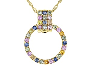 Round Multi Sapphire 10k Yellow Gold Circle Pendant With Chain 0.51ctw