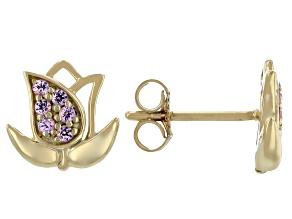 Pink Sapphire 10k Yellow Gold Flower Stud Earrings. 0.17ctw