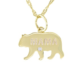 """White Topaz 10k Yellow Gold """"Mama Bear"""" Pendant With Chain 0.01ct"""