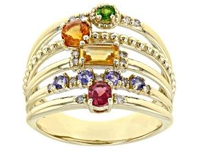 Multi Gemstone 10k Yellow Gold Ring 0.96ctw