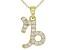 "Round White Zircon ""Capricorn"" 10k Yellow Gold Pendant With Chain 0.36ctw"