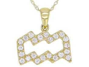 "Round White Zircon ""Aquarius"" 10k Yellow Gold Pendant With Chain 0.39ctw"
