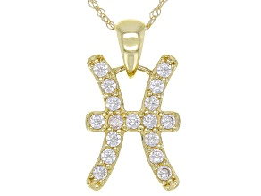 "Round White Zircon ""Pisces"" 10k Yellow Gold Pendant With Chain 0.29ctw"
