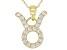 "Round White Zircon ""Taurus"" 10k Yellow Gold Pendant With Chain 0.37ctw"