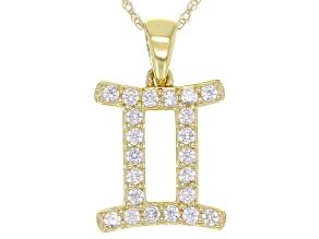 "Round White Zircon ""Gemini"" 10k Yellow Gold Pendant With Chain 0.37ctw"