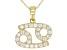 "Round White Zircon ""Cancer"" 10k Yellow Gold Pendant With Chain 0.51ctw"